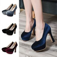 Sexy Womens Platforms Slip On Chunky Block High Heels Suede Clubwear Prom Shoes
