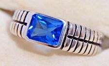 1.5 CARAT Swiss Blue Topaz Ladies Ring Solid Genuine 925 Sterling Silver 6, 8, 9