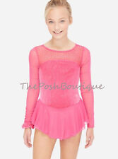 NWT Figure Skating Dance Dress Ice Pink Leotard Justice Girl 8 10 12 14 16 18 20