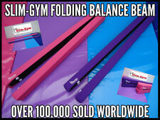 7FT GYMNASTICS GYM FOLDING BALANCE BEAM BY SLIM-GYM - HOT PINK FAUX LEATHER