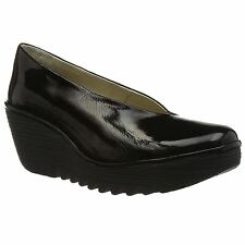 Fly London Yaz Black Womens Luxo Leather Slip on Wedge Heel Casual Shoes Pumps