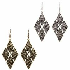 1 Pair Gothic Bohemian Boho Style Carved Rhombus Alloy Dangle Drop Earrings