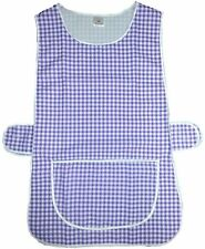 GINGHAM CHECK  TABBARD APRON WITH ADJUSTABLE STRAP KITCHEN CLEANING CHEF-ROYAL