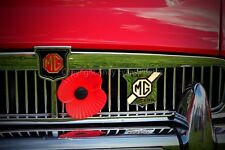 MG classic red sports car grill and badge photograph picture photo poster print