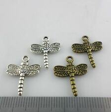 40/300pcs Tibetan Silver/Bronze Dragonfly Charms Pendants Jewelry Making 16x20mm