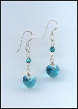 Beautiful Silver Earrings with Swarovski TEAL BLUE Crystal Hearts GIFT BOXED