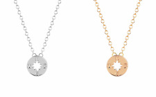 Silver or Gold Plated Tiny Compass Directions Necklace Pendant in Gift Bag/Box