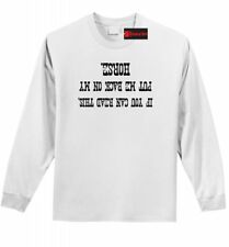 If You Can Read This Back On My Horse Funny LS T Shirt Equine Horse Rider Tee Z1