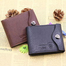 Men Fashion PU Leather Clasp CreditCard Holder Pockets Slim Purse Bifold Wallet