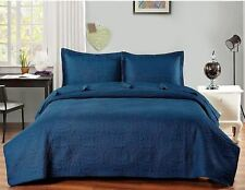 NEW Twin XL Full Queen Cal King Bed Navy Blue 3 pc Coverlet Quilt Bedspread Set