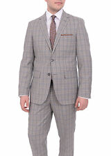 Mens Slim Fit Taupe Navy Glen Plaid Two Button Wool Blend Suit