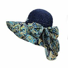WITHMOONS Women Floral Paisley Paper Straw Floppy Hat Beach Cap DW9741