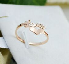 14K Rose Gold Filled Stainless Steel Fashion Jewelry Love Letters Women's Rings