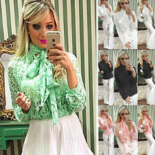 Fashion Women's Long Sleeve Lace Party Shirt Tops Loose Casual Blouse T-Shirt