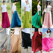 Womens 10 Color Bohemian Long Maxi Skirt Chiffon Vintage Summer Beach Sun Dress