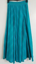 NEW PER UNA M&S 8-22 Pure Cotton Blue Turquoise Printed Maxi Skirt Summe