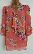 NEW DP 12-20 Pussybow Floral Print Chiffon Coral Pink Blouse Top Smart Work