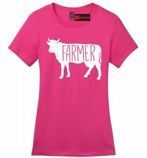 Farmer Cow Ladies Soft T Shirt Cow Lover Rancher Country Graphic Tee Shirt Z4