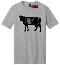 Farmer Cow Mens V-Neck T Shirt Cow Lover Country Rancher Graphic Tee Shirt