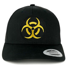 BIOHAZARD Circular Black Yellow Embroidered Patch Mesh Back Trucker Cap