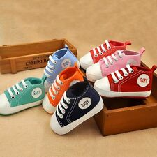 0-18M Toddler Crib Shoes Kids Baby Boy Girl Soft Soled Canvas Sneakers Prewalker