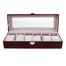 6 Slot Watch Box PU Leather Display Case Organizer Jewelry Storage With Lock