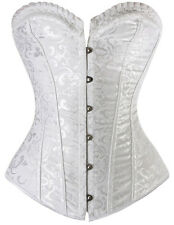 White Vintage Bridal Brocade Steel Boned Corset - Aussie Seller