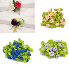 New Ribbon Rose DIY Wedding Flower Satin Decor Bow Appliques Craft Sewing Leaves