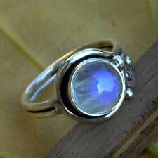 Blue Fire Rainbow Moonstone Gemstone 925 Sterling Silver Artisan Handmade Ring