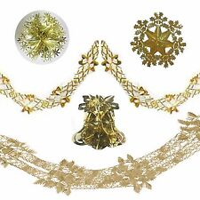 SW Christmas Foil Ceiling Decorations - Bell Ball Snowflake Garlands - Gold