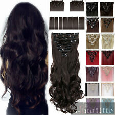 Real Thick Long Full Head Clip in human Synthetic Hair Extensions Extension ssn8