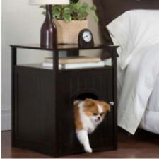 Small Dog House Puppy Cat Kitty Pet Litter Box Bed Brown Doghouse Nightstand New