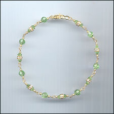 Dainty Gold Filled Anklet with Swarovski PERIDOT GREEN Crystals & Rondelles