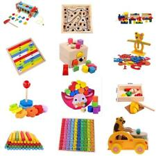 Wooden Number Puzzle Kids Educational Counting Sticks Truck Block Stacking Toy