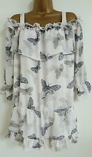NEW Plus Size 16-28 Butterfly Print Cold Shoulder White Navy Tunic Top Blouse