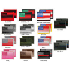USA American Patriotic Flag Embroidered Iron On Patch 2 Piece Pack - FREE SHIP