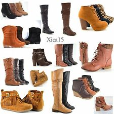 Women's High Heel Boots Ankle Booties Flat Knee High Riding Ankle Lace Up Shoes