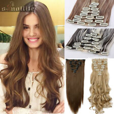 Long Curly Wavy Straight 8Pcs Long Clip in Remy Hair Extensions Extension HG92