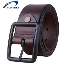 New Vintage Cowhide Genuine Leather Belts for Men Casual Jeans Pin Buckle Belt