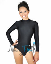 Black Shiny Spandex Mock Neck Dance Leotard Bodysuit Holiday Costume S-3XL