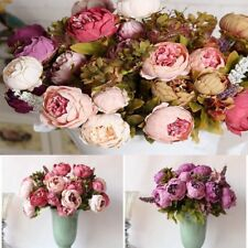 1 Bouquet Artificial Silk Flowers Fall Vivid Peony Wedding Home Party Decoration