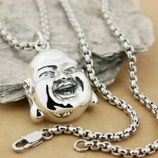 925 Sterling Silver Happy Buddha Head Charm Biker Amulet Pendant Necklace 8X019B
