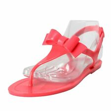 Red Valentino Women's Rubber Pink T-Strap Flat Sandals Shoes Size 7 8 10