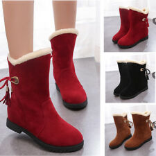 Women Casual Suede Real Fur Warm Snow Boots Low Block Heels Mid Calf Shoes Hot
