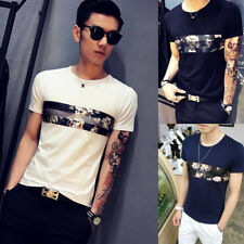 Round neck Popular Fashion Men's Short Sleeve T-Shirt 1Pcs