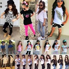 Lot Toddler Kids Baby Girls Clothes Outfits T-shirt Tops+Shorts Pants Skirt Set