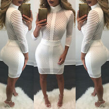 New Womens Bodycon Bandage Evening Cocktail Party Long Sleeve Lace Pencil Dress