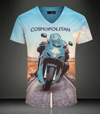 Men's Just Cavalli Cotton Graphic Short V-neck Fashion Blue Motorcycle T-shirt