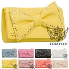 NEW WOMENS FAUX LEATHER LARGE BOW STUDDED EVENING CLUTCH BAG HANDBAG PURSE