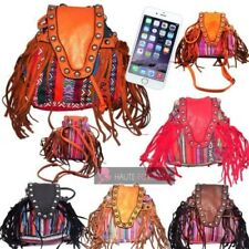 NEW CANVAS FAUX LEATHER MULTICOLOUR FRINGE STUDDED HIPPIE BOHO FESTIVAL BAG